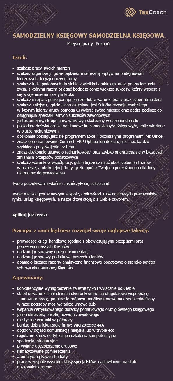 Ogłoszenie o pracę na stanowisko Samodzielny księgowy